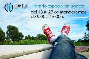 Horario especial durante el mes de agosto
